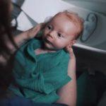 bathing a baby